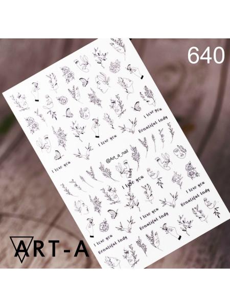 3D наклейки для дизайна ногтей 640
